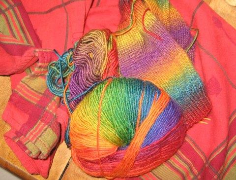 Knitting in Tea Towel